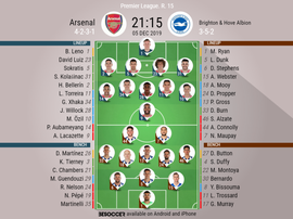 Arsenal v Brighton, Premier League 2019/20, 5/12/2019, matchday 15 - Official line-ups. BESOCCER