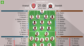 Arsenal v Dundalk, Europa League 2020/21, 29/10/2020. Official-line-ups. BeSoccer