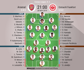 Arsenal v Eintracht, Europa League 2019/20, matchday 5, 28/11/2019 - official line.ups. BESOCCER