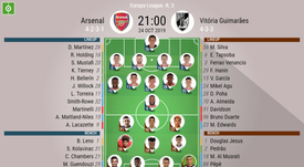 Arsenal v Guimaraes, Europa League 2019/20, 24/10/2019, matchday 3- Official line-ups. BESOCCER