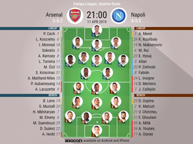Arsenal v Napoli, Europa League, quarter-final first leg - Official line-ups. BeSoccer