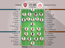 Arsenal v Olympiacos, Europa League last 32, 27/10/19 - official-line-ups. BeSoccer