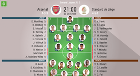 Arsenal v Standard Liege, Europa League matchday 2, 03/10/19 - official-line-ups. BeSoccer