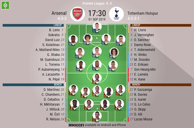 Arsenal v Tottenham, 1/09/19, Premier League 19-20 GW4 - official line-ups. BeSoccer