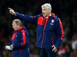 Arsene Wenger directing play for Arsenal. Twitter