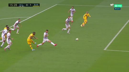 Messi iguala seu recorde de 20 assistências na temporada. Captura/Movistar+