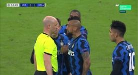 Vidal fait du Vidal et se fait expulser contre le Real Madrid. Capture/MovistarLigadeCampeones