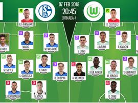 Os 11's do Schalke e Wolfsburg. BeSoccer