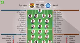 As escalações de Barcelona e Napoli pelas oitavas de final da Champions League. BeSoccer