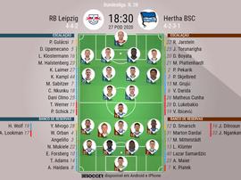As escalações de RB Leipzig e Hertha Berlin, pela 28ª rodada da Bundesliga. BeSoccer