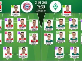 As escalações do Bayern e Bremen para este jogo. BeSoccer