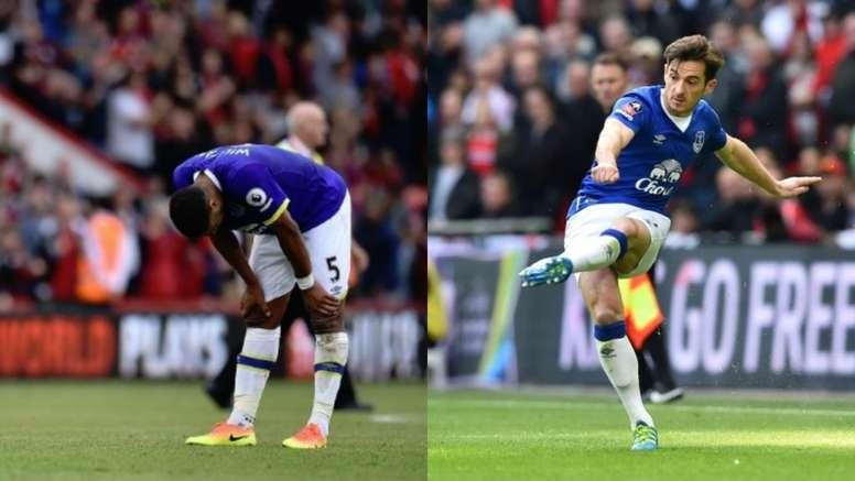 Ashley Williams (i) dejará el Everton y Leighton Baines (d) revisará su contrato. Montaje/AFP