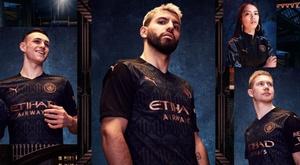 O Manchester City apresenta seu segundo uniforme para 20-21. Twitter/ManCityES
