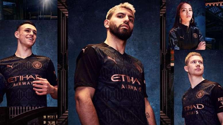 Manchester City présente son maillot extérieur pour 2020-21. Twitter/ManCityES