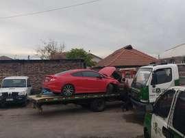 Así quedó el coche de Pinilla tras el accidente. Twitter