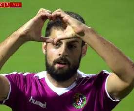 Asier Villalibre celebra el cuarto tanto del Real Valladolid ante la Cultural Leonesa en Copa. BeIN
