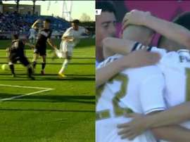 Reinier estreia no time B do Real Madrid com toque de calcanhar. Capturas/RealMadridTV