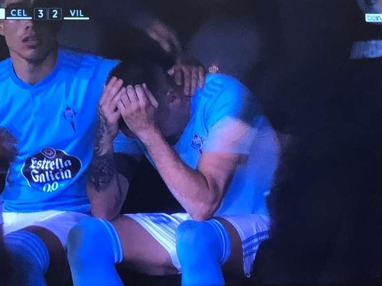 Les larmes de soulagement d'Aspas. Capture/BeINSports