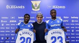 El Leganés presentó a Assalé y Amadou. Twitter/CDLeganes
