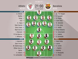 Athletic Bilbao v Barcelona, La Liga 2019/20, 16/8/2019, matchday 1 - official line-ups. BESOCCER