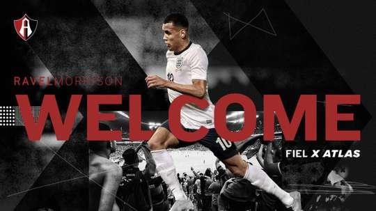 Morrison has joined Mexican club Atlas on loan from Lazio. Twitter/Atlasfc