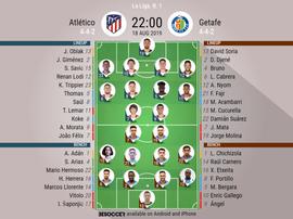 Atletico Madrid v Getafe, La Liga 2019/20, 18/8/2019, matchday 2 - Official line-ups. BESOCCER