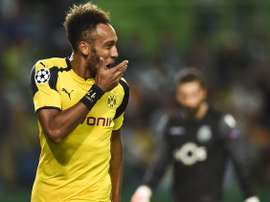 Aubameyang a marqué le seul but de Dortmund contre le Hertha Berlin. Goal