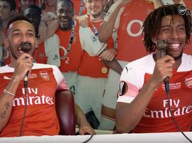 Les commentaires mythiques d'Aubameyang et Iwobi. Capture/ArsenalTV