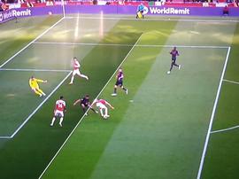 Aubameyang goal v Everton, 23/09/2018. Screenshot/NBC