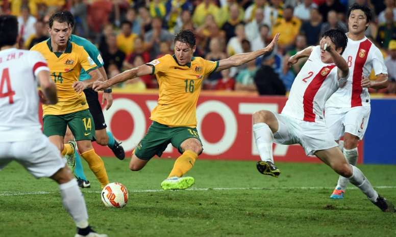 Australia Nathan Burns (C), seen in action during an AFC Asian Cup match against China, in Brisbane, in January 2015