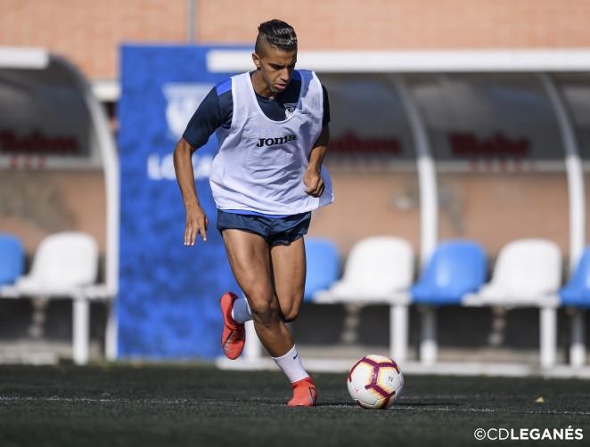 Aymane debutó ante el Ebro como titular. CDLeganés