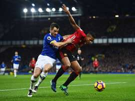 Baines (L) equalised late on from the panlty spot. EvertonFC