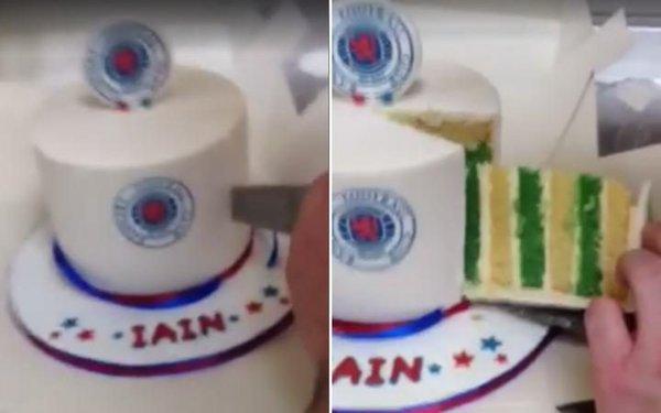 RangersCeltic birthday cake prank BeSoccer