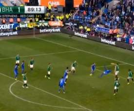Bamba scored late winner for Cardiff City against Brighton. Captura/NBC