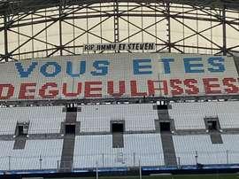 La banderole des supporters de l'OM au Vélodrome. Twitter/Winners1987