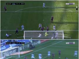 Barcelona scored twice in quick succession to take the lead at Real Sociedad. Screenshot/BeInSports