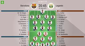 Barcelona v Leganes, La Liga, GW 20 - official lineups. BESOCCER