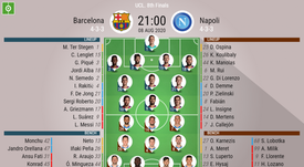 Barcelona v Napoli, Champions League 2019/20, last 16 2nd leg - Official line-ups. BESOCCER