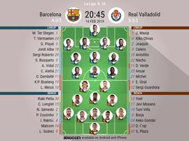 Barcelona v Real Valladolid, La Liga, GW 24: Official line-ups. BESOCCER