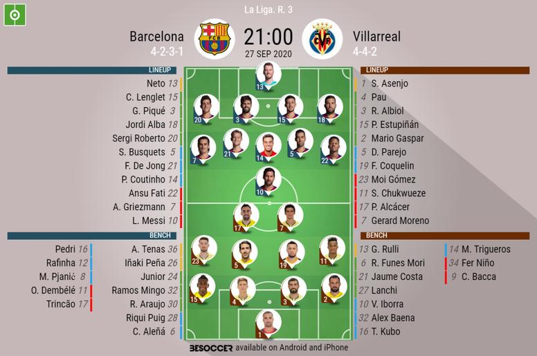 Barcelona v Villarreal. La Liga 2020/21. Matchday 3, 27/09/2020-official line.ups. BESOCCER