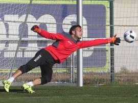 Bardi, entrenando con el Espanyol esta temporada. Twitter.