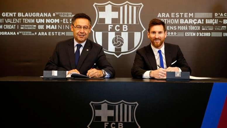 Bartomeu veut Messi le plus longtemps possible. FCBarcelona