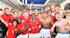 A festa dos jogadores do Basileia, que levaram o clube ao oitavo título seguido. Twitter