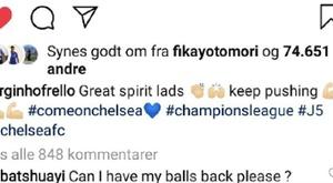 Batshuayi répond à Jorginho. Captura/Instagram/Jorginhofrello