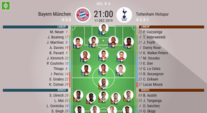 Bayern Munich v Tottenham, Champions League round 6, 11/12/2019 - official line-ups. BeSoccer