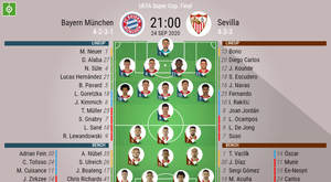 Bayern v Sevilla. European Super Cup, 24/9/2020, official-line-ups. BeSoccer