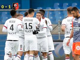 Ben Arfa ouvre le score pour Rennes.  Capture/Twitter/Ligue1 Conforama