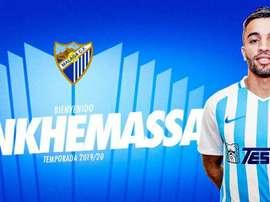 Benkhemassa ficha por el Málaga. Twitter/MalagaCF