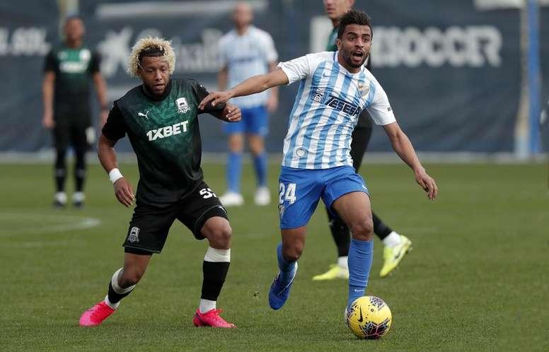 Benkhemassa hizo el único gol del partido. Twitter/MalagaCF