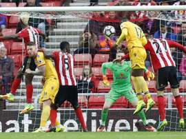 Benteke heads in the winning goal in a 3-2 victory over Sunderland. CPFC